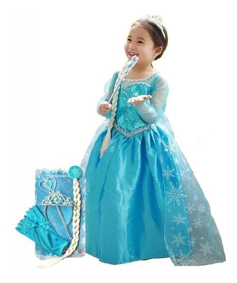 Disfraz Vestido Elsa Frozen Corona Mechon Varita Guantes