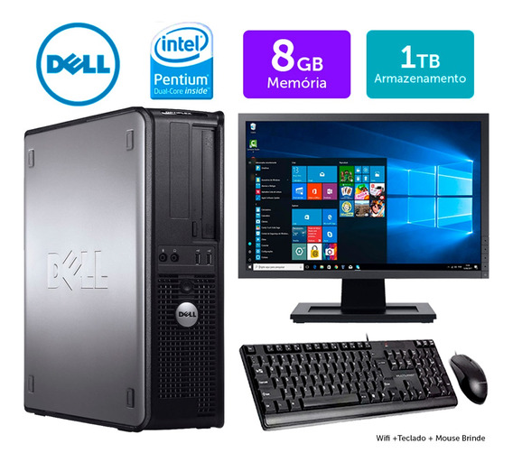 Computador Usado Dell Optiplex Int Dcore 8gb Ddr3 1tb Mon19w