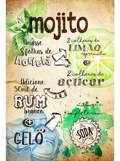 Placa - Quadro - Decorativo - Receita - Mojito - (v341)