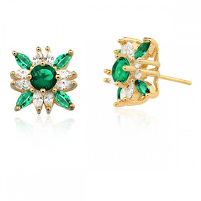 Par Brinco Feminino Brilhante Cristal Verde Banho Ouro 18k