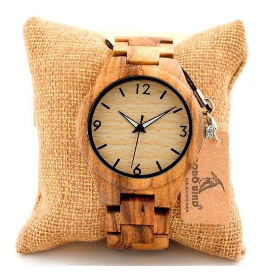 Relógio Bobo Bird Quartzo Madeira Bambu Caixa Original G24