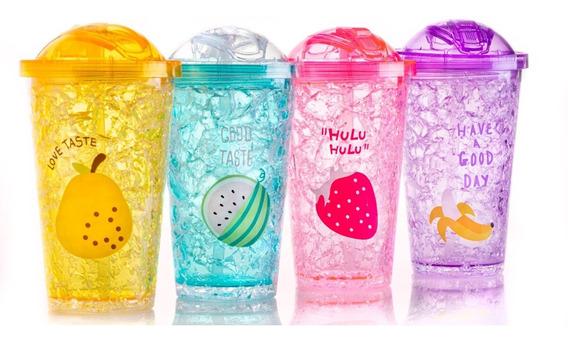 Vaso Con Gel Refrigerante Tapa Deslizante Frutales Infantil