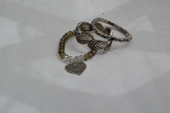 Mix De Pulseiras Boho 3 Peças Bracelete,strass, Cristal