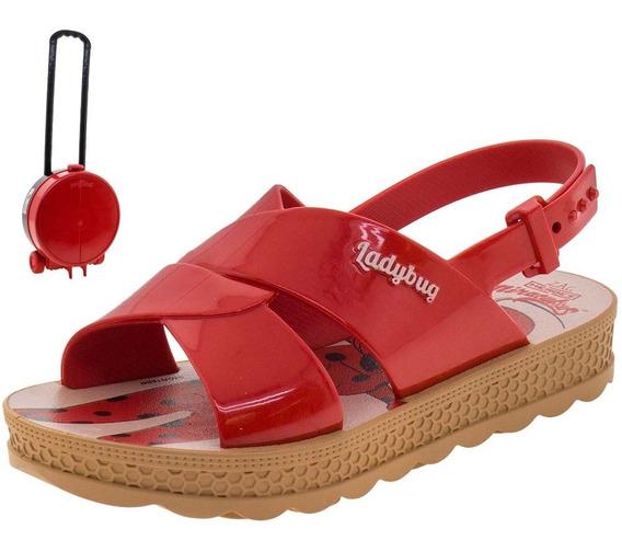 Sandália Infantil Feminina Ladybug Vermelha Grendene Kids -