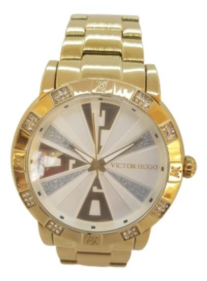 Relógio Feminino Dourado Victor Hugo Vh10108lsg/04m