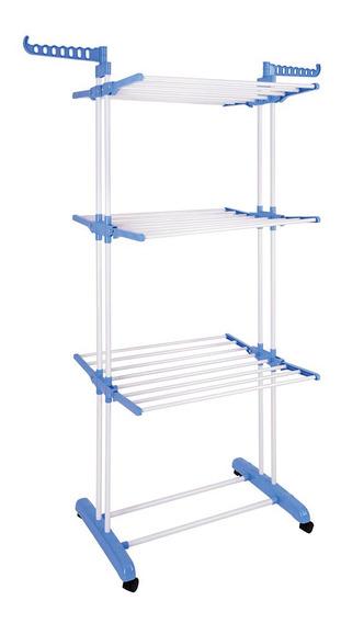 Tendedero De Ropa Tender Aluminio Vertical Ruedas + Broches