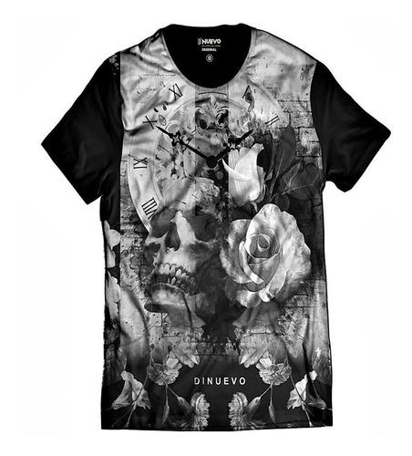 Imagem 1 de 5 de Camiseta Caveira Com Flor E Relógio Retrô Swag E Rap