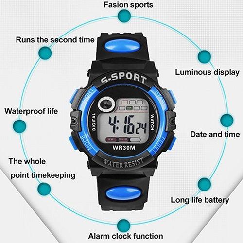 Relógio De Pulso,digital,unisex,azul,lindo E Resistente !