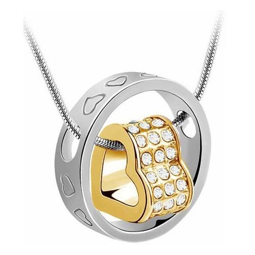 Collar Dije Corazones Oro Grabado Cadena Swarovski Elements