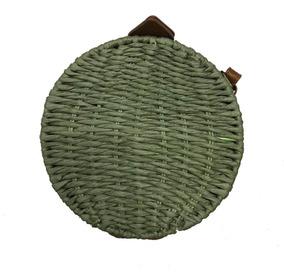 Bolsa De Palha Redonda Handbag Circle Alça Regulável Tecido