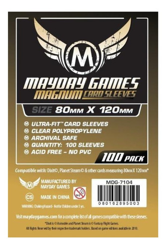 Dixit Magnum Gold Card Sleeves (100 Pack) - Mayday 80x120mm