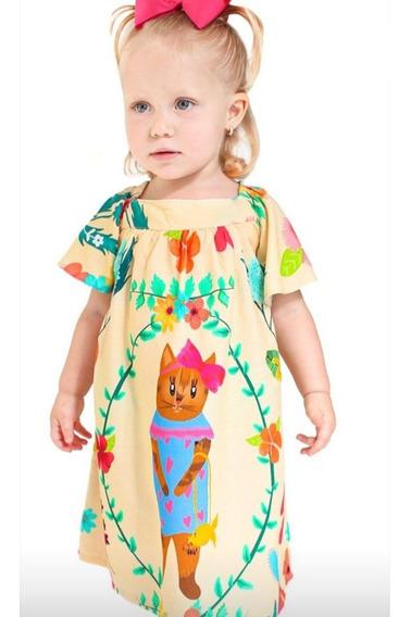 Vestido Infantil Feminino Gata De Laço Maria Arteira