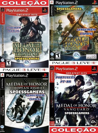 Medal Of Honor Ps2 Coleção (4 Dvds) Patch Pague 3 - Spain Pt