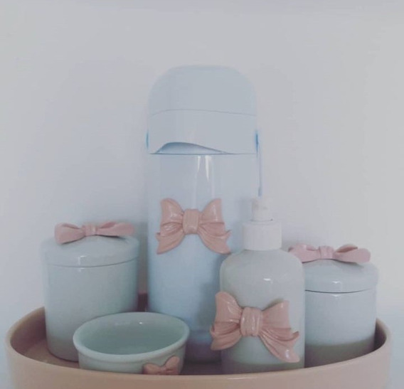 Kit Higiene Cerâmica Laço Lux Cor Gel Com Garrafa Térmica