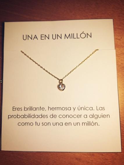 Collar De Corazón Chapa De Oro 18k Y Zirconia