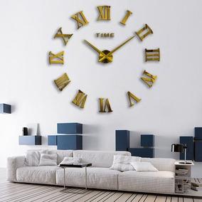 Relógio De Parede Cor Dourado Grande Decorativo 3d Romano