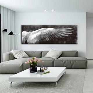 Cuadro Decorativo Alas Angel Negro Moderno Lienzo 180x60