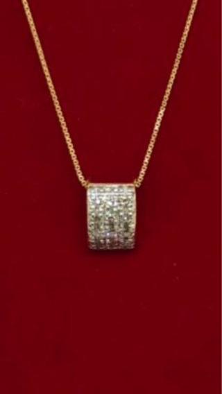 Colar Com Pingente De Ouro 18k E Diamantes!