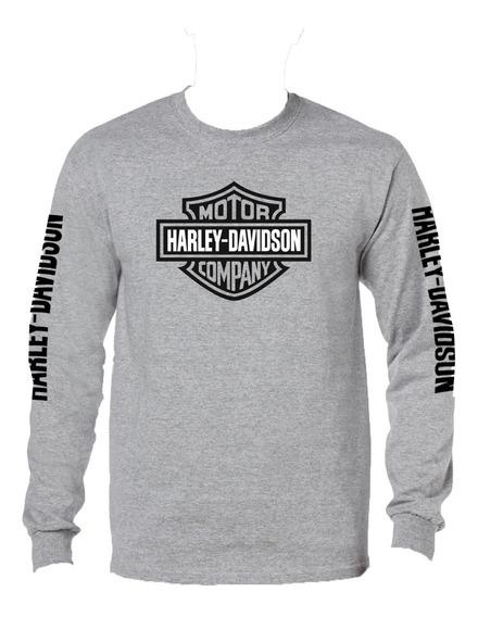 Playera Harley Davidson Manga Larga Gris Jaspe, Talla Xxl