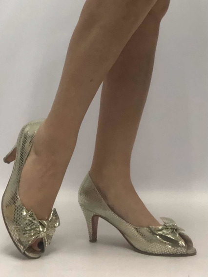 Zapatos Mujer Nro 38 Noche Fiesta Dorado Cuero Vacuno