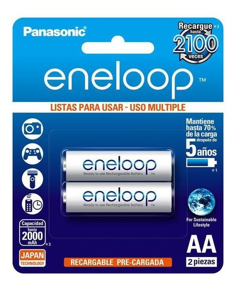 Pila Panasonic Recargable Eneloop Aa C/2 2000 Mah Bk-3mcce2b