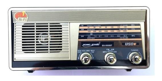 Radio Am Fm Sw Bluetooth Entrada Sd Usb Lanterna Led Ss999bt