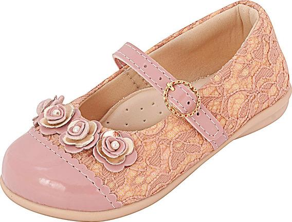 Sapatilha Infanti Menina Renda Rosê Plis Calçados 114