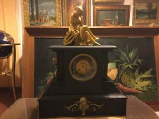 Reloj Victoriano De Chimenea Ónix Negro Y Bronce De 1890
