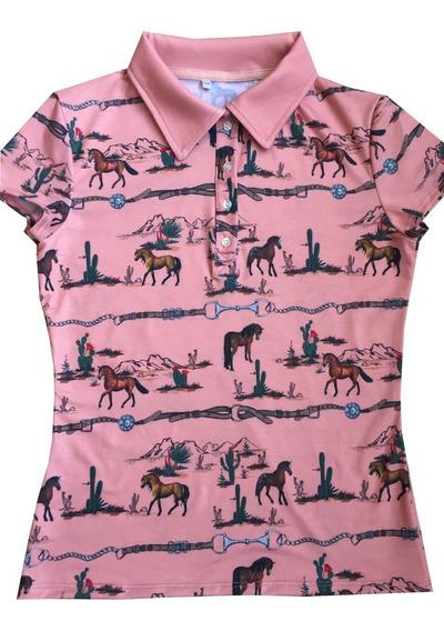 Playera Vaquera Con Caballos Cuello Polo