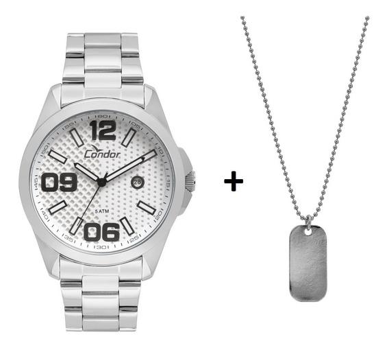 Kit Relógio Condor Masculino Nota Com Colar Co2115ksy/k3k
