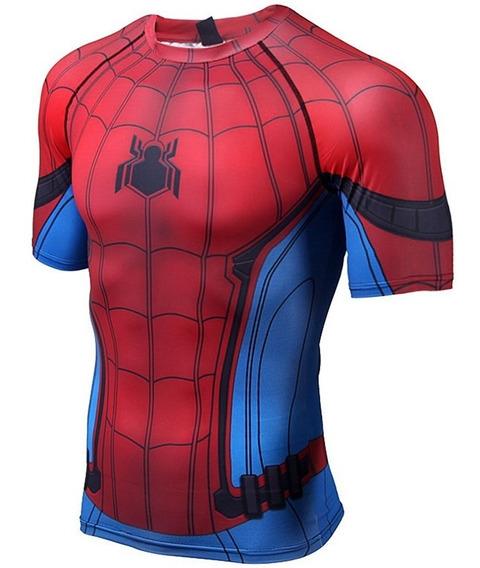 Camisa Compressão Homem Aranha 3d Modelo 1 Pronta Entrega