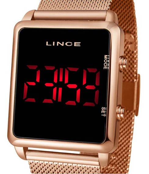 Relógio Digital Led Lince Feminino Rose Mdr4596l Pxrx Nfe