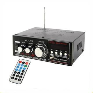 Amplificador Potencia 220v 12v Con Radio Usb Aux