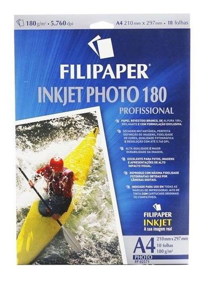 Papel Foto Ink Jet Alto Brilho 180g 4a 10 Fls Filipaper