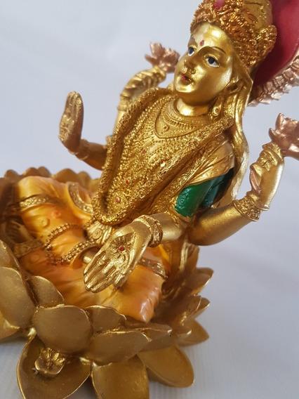 Lakshmi Diosa Hindú Loto Estatua Figura Resina 15x13