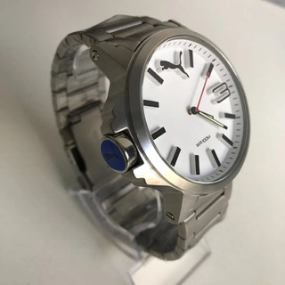 Relógio S100 Puma Branco Pulseira Prata