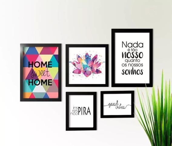 Conjunto Kit Quadro Flor Lótus Gratidão Frases Sala Promoção