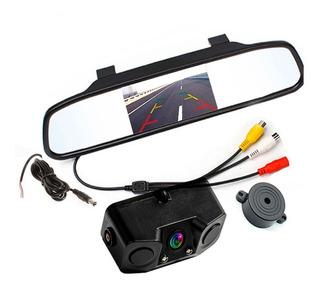 Espejo Retrovisor Pantalla + Doble Sensor De Reversa