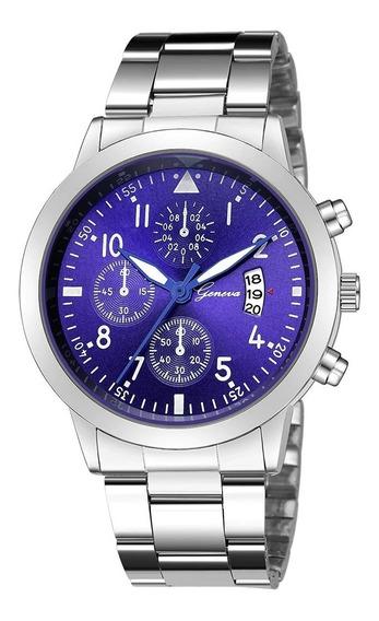 Relógio De Luxo Prata Com Fundo Azul