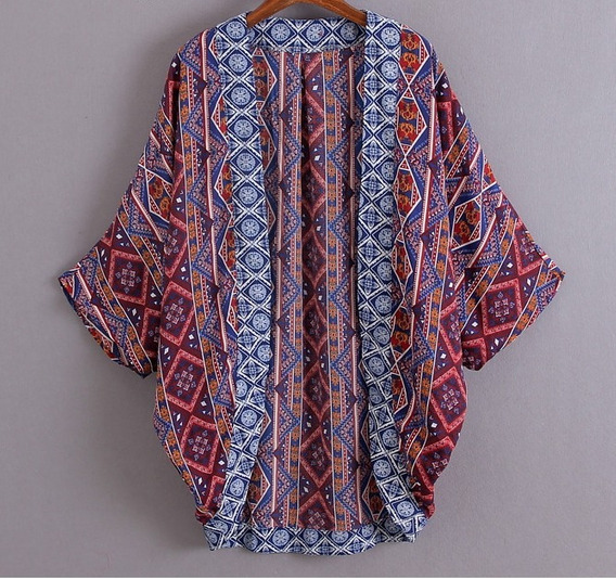 Kimono Estampada Étnica Azulejo Porcelana Libélulas Arabesco
