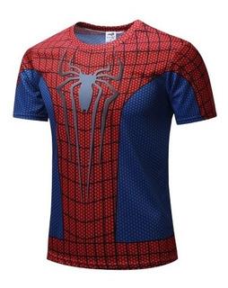 Playera Hombre Araña Spiderman Fitness Transpirables Deporte