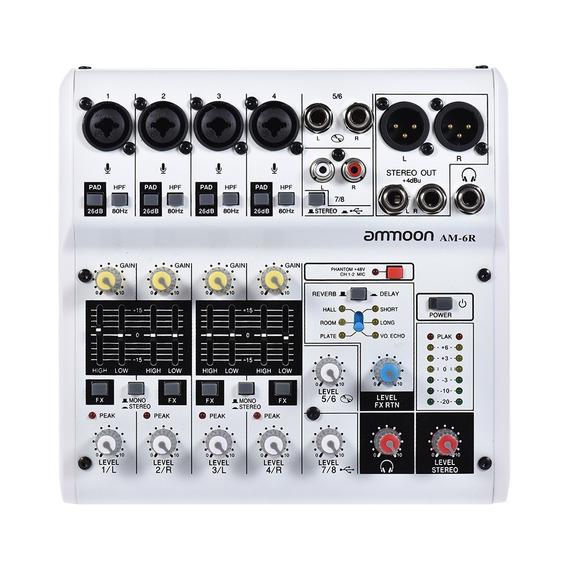 Placa De Som Mixagem Digital Ammoon Am-6r 8-channel