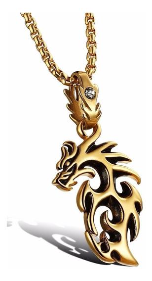 Colar Masculino Dragão Aço Inox Dourado Com Cristal Zircônia