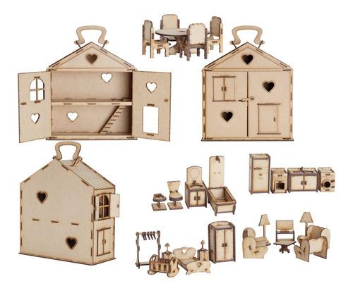 Imagen 1 de 3 de Casita Valija Casa Con Muebles X39 Fibrofacil Madera  Lol