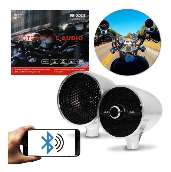 Caixa De Som Para Moto 50w Rms Bluetooth Mp3 Usb Rádio