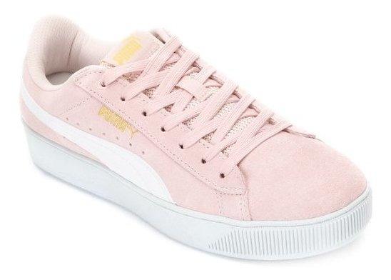 puma disc rosa e branco