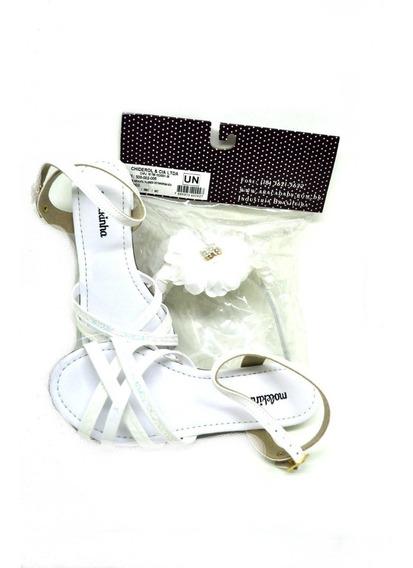 Sandália Branca Molekinha Com Saltinho + Tiara Branca