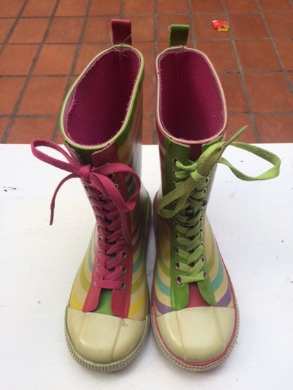Botas De Lluvia Nena Con Cordones De Colores Lmm Talle 34