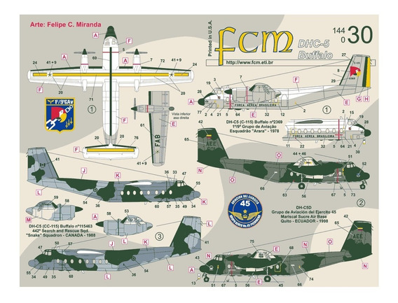 Decal Dhc-5 Buffalo Latin American Air Forces 1:144 Fcm14430