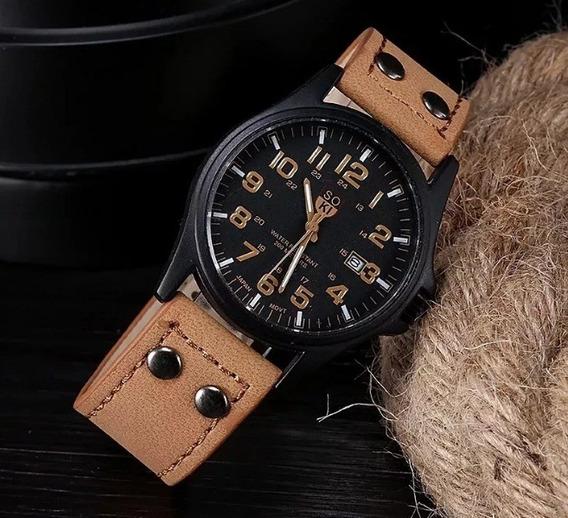 Relógio Masculino Soki De Pulso Pulseira De Couro Original